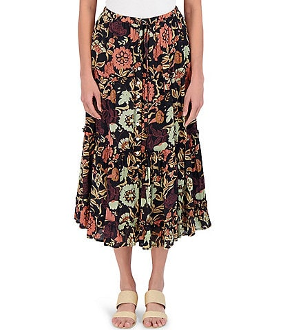 Roller Rabbit Taos Clementine Floral Pull-On Skirt