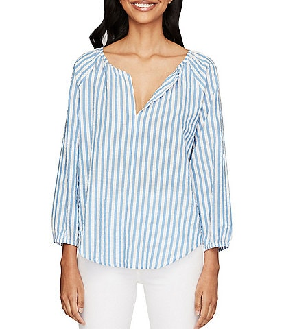 Roller Rabbit V-Neck Lur Lucy Striped Matching Blouse