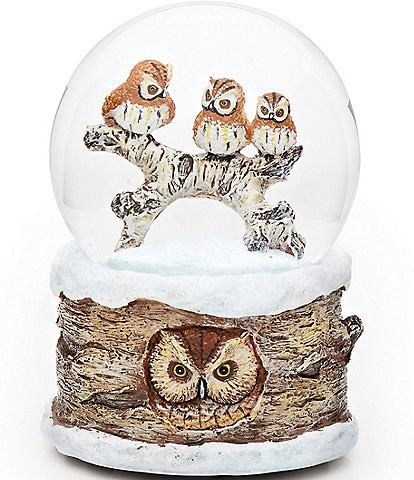 Roman Carved Owl Carol of the Bells Wind-Up Musical Glitter Dome