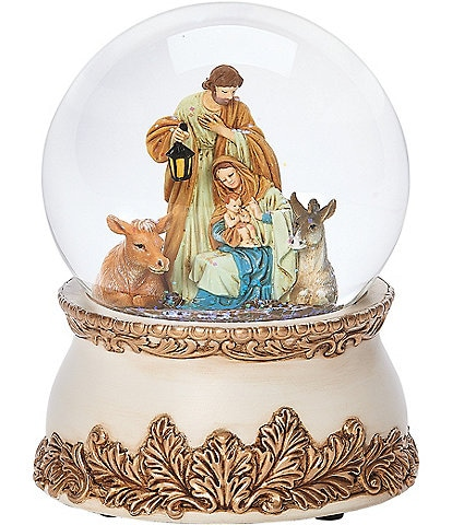Roman Holy Family & Animals Musical Wind-Up Glitter Dome