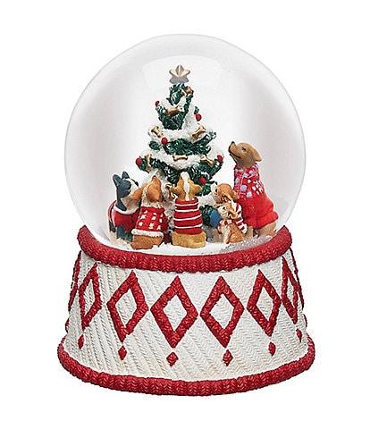 Roman Inc. Dogs Around the Christmas Tree Dome Water Globe