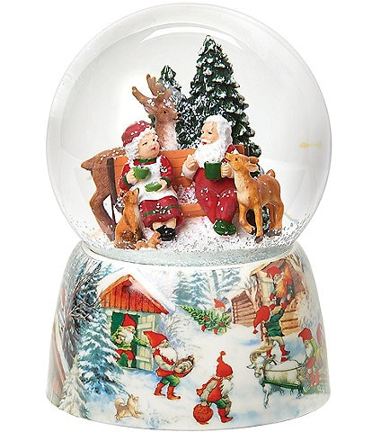Roman Mr. and Mrs. Claus #double;We Wish You A Merry Christmas#double; Wind-Up Musical Glitter Dome