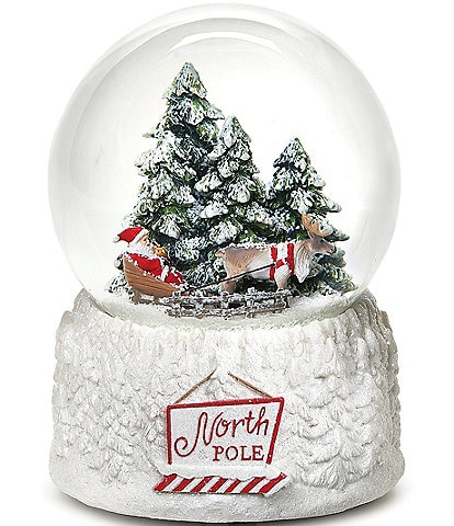 Roman North Pole #double;Santa Claus Is Coming To Town#double; Wind-Up Musical Glitter Dome