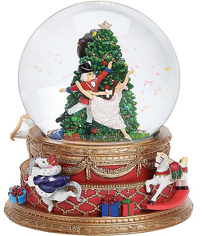 Roman Nutcracker Double Rotating Wind-Up Musical Glitter Dome