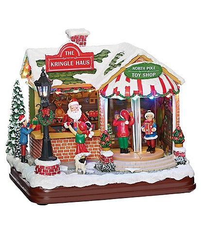 Roman Santa's Musical LED Kringle Haus Toy Shop Figurine