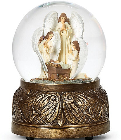 Roman Three Angels #double;The First Noel#double; Musical Wind-Up Glitter Dome