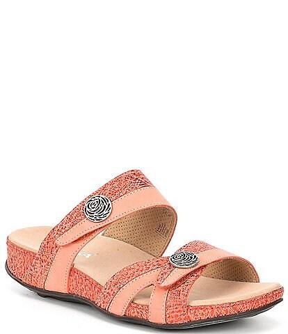 Romika Fidschi 22 Banded Print Leather Slide Sandals