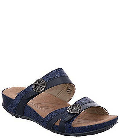 Romika Fidschi 22 Banded Snake Print Leather Slide Sandals