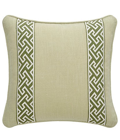 Rose Tree Gwyneth Greek Key Embroidered Bands Square Pillow