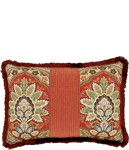 Rose Tree Harrogate Fringed Damask & Striped Reversible Breakfast Pillow