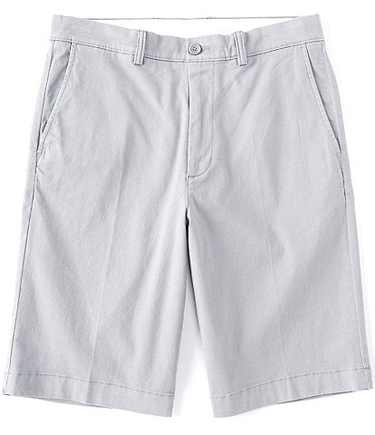 Roundtree & Yorke 11#double; Inseam Flat-Front Stretch Washed Chino Shorts