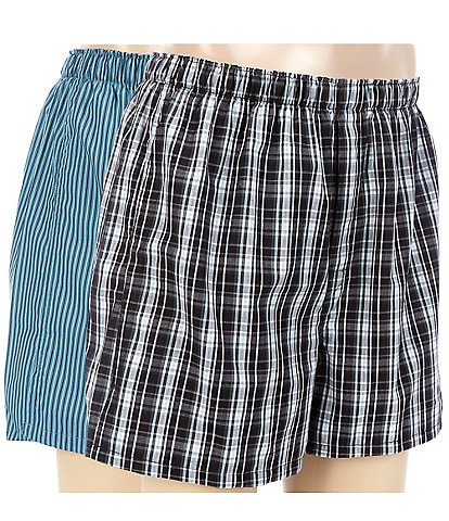 Roundtree & Yorke 2-Pack Tapered Checked Boxers