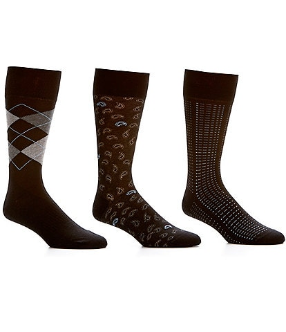 Roundtree & Yorke Argyle Basic Assorted Crew Dress Socks 3-Pack
