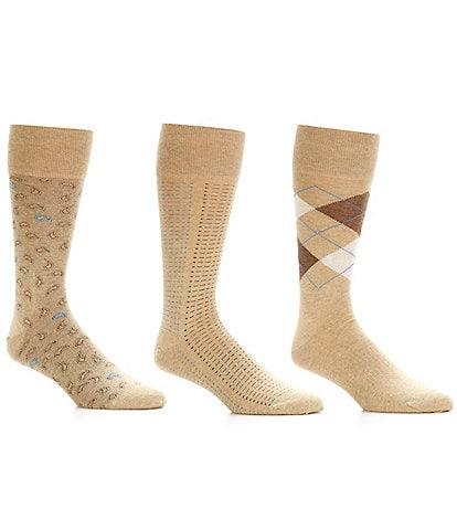 Roundtree & Yorke Argyle Basic Assorted Crew Dress Socks 3-Pack
