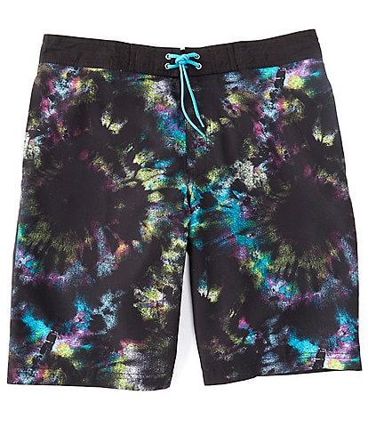 Roundtree & Yorke Big & Tall 10#double; and 12#double; Inseam Circle Tie Dye Swim Trunks