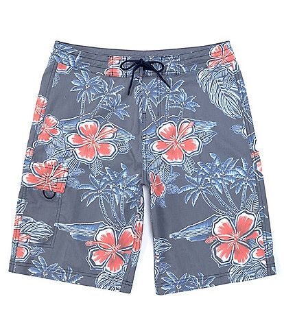 Roundtree & Yorke Big & Tall 10#double; and 12#double; Inseam Faded Floral Board Shorts
