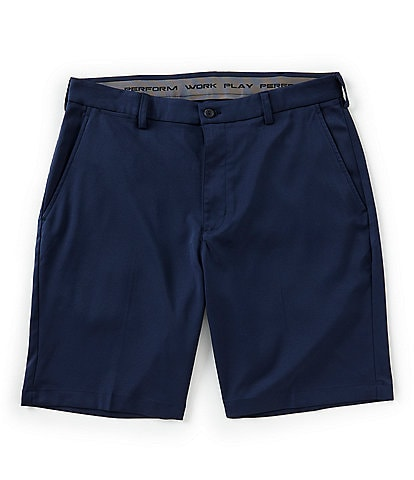 Roundtree & Yorke Big & Tall 9#double; and 11#double; Inseam Flat-Front Performance Solid Stretch Shorts