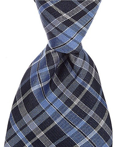 Roundtree & Yorke Big & Tall Archer Plaid Traditional 3 3/8#double; Silk Tie