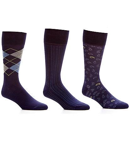 Roundtree & Yorke Big & Tall Argyle Basic Assorted Crew Dress Socks 3-Pack