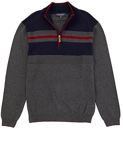 Roundtree & Yorke Big & Tall Chest Stripe Quarter-Zip Sweater