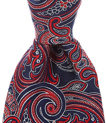 Roundtree & Yorke Big & Tall Collin Paisley Traditional 3 3/8#double; Silk Tie