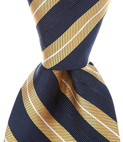 Roundtree & Yorke Big & Tall Dallas Stripe Traditional 3 3/8#double; Silk Tie
