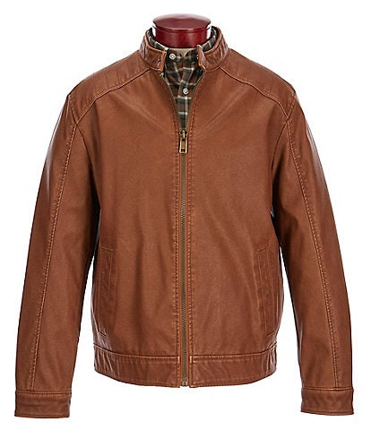 Roundtree & Yorke Big & Tall Faux Leather Cognac Jacket