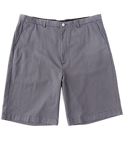"""Roundtree & Yorke Big & Tall Flat Front 9"""" and 11""""  Inseam Washed Cotton Shorts"""