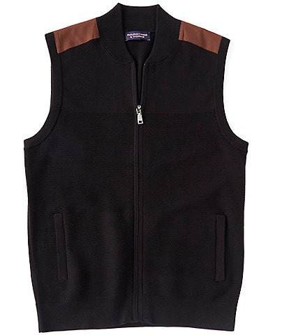 Roundtree & Yorke Big & Tall Full-Zip Suede Sweater Vest