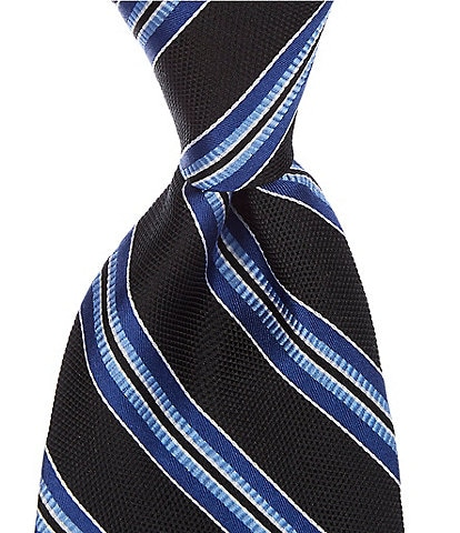 Roundtree & Yorke Big & Tall Johnson Stripe Traditional 3 3/8#double; Silk Tie