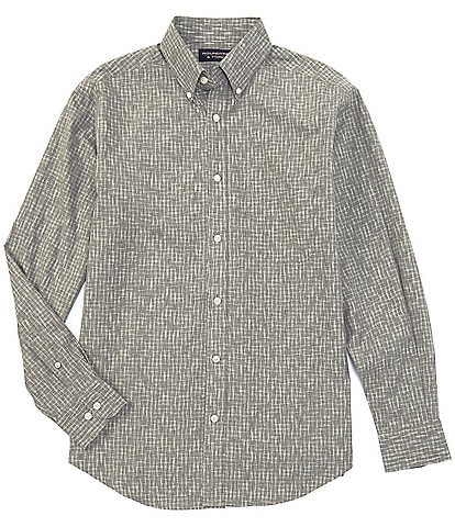 Roundtree & Yorke Big & Tall Long-Sleeve Heather Gingham Tailored to Wear Untucked Sportshirt