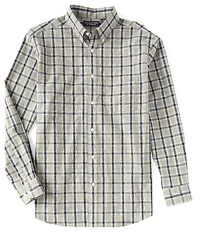 Roundtree & Yorke Big & Tall Long-Sleeve Heather Plaid Tailored to Wear Untucked Sportshirt