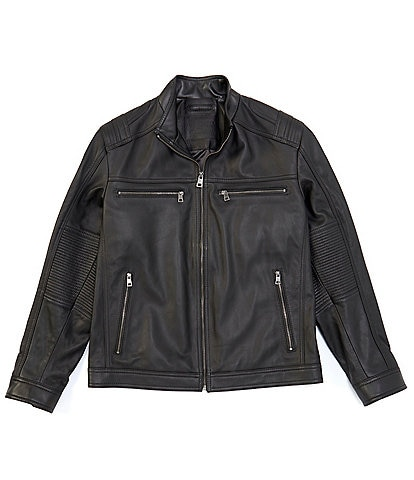 Roundtree & Yorke Big & Tall Long-Sleeve Lambskin Leather Moto Jacket