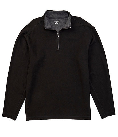 Roundtree & Yorke Big & Tall Long-Sleeve Pieced Quarter Zip Pullover