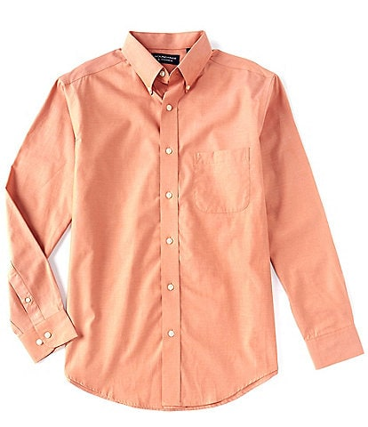 Roundtree & Yorke Big & Tall Long-Sleeve Solid Pinpoint Oxford Sportshirt