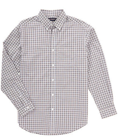 Roundtree & Yorke Big & Tall Luxury Cotton Long-Sleeve Multi Checked Sportshirt