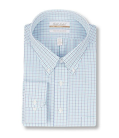 Gold Label Roundtree & Yorke Big & Tall Non-Iron Button-Down Collar Checked Dress Shirt