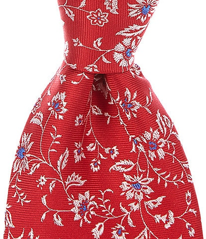 Roundtree & Yorke Big & Tall Parker Floral Traditional 3 3/8#double; Silk Tie