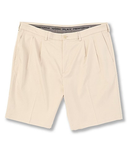 Roundtree & Yorke Big & Tall Performance 9#double; and 11#double; Inseams Pleated CoreComfort Shorts
