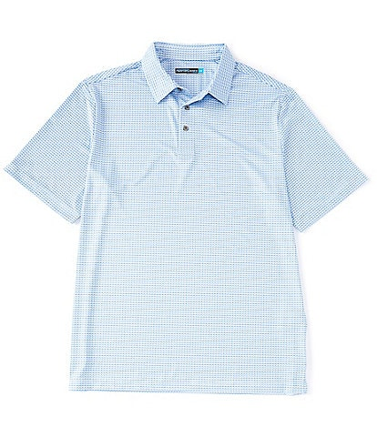 Roundtree & Yorke Big & Tall Performance Short-Sleeve Sailboat Printed Sportshirt