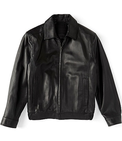 Roundtree & Yorke Big & Tall Premium Genuine Leather Lambskin Bomber Jacket