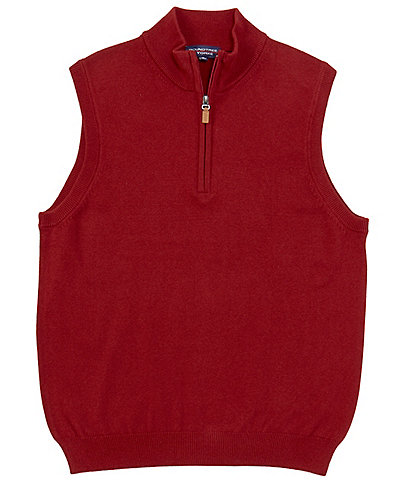 Roundtree & Yorke Big & Tall Quarter-Zip Solid Sweater Vest