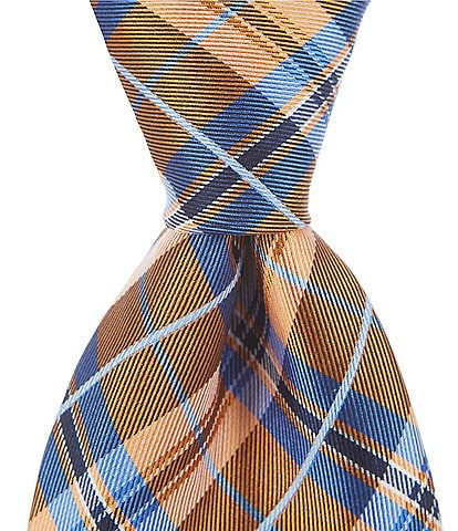 Roundtree & Yorke Big & Tall Shackle Plaid Traditional 3 3/8#double; Silk Tie