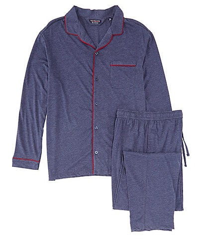 Roundtree & Yorke Big & Tall Solid Long Sleeve Knit Pajama Set