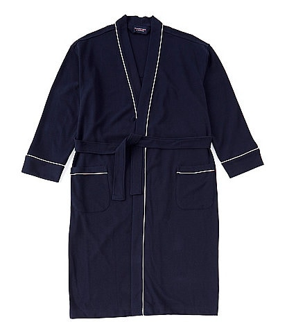 Roundtree & Yorke Big & Tall Solid Waffle Kimono Robe