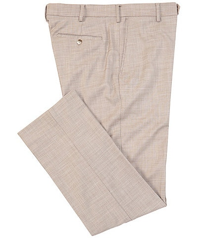 Roundtree & Yorke Big & Tall TravelSmart Ultimate Comfort Easy Care Linen Look Flat Front Dress Pants