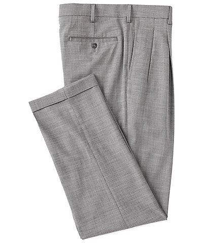 Roundtree & Yorke Big & Tall TravelSmart Ultimate Comfort Easy Care Linen Look Pleated Dress Pants