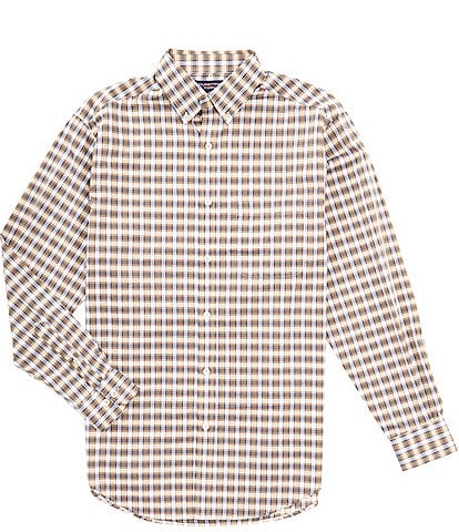 Roundtree & Yorke Big and Tall Luxury Cotton Long-Sleeve Large Gingham Sportshirt