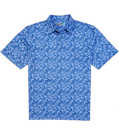 Roundtree & Yorke Big and Tall Performance Short-Sleeve Leaf Printed Polo