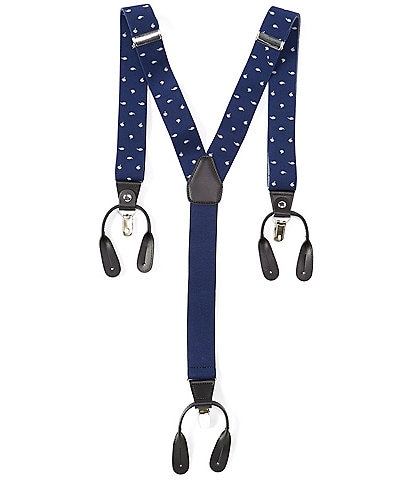 Roundtree & Yorke Blue Feather Suspenders